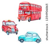 watercolor set with london... | Shutterstock . vector #1354906865
