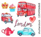 watercolor set with london... | Shutterstock . vector #1354906868