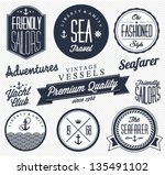 collection of  vintage nautical ... | Shutterstock .eps vector #135491102