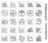 graph line icons set on squares ... | Shutterstock .eps vector #1354940822