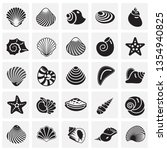 sea shell icons set on squres... | Shutterstock .eps vector #1354940825