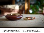 stylish exquisite ashtray and... | Shutterstock . vector #1354950668