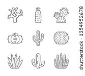 wild cactuses linear icons set. ... | Shutterstock .eps vector #1354952678