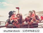 group of young cheerful girls... | Shutterstock . vector #1354968122