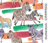 exotic zebra wild animal in a... | Shutterstock . vector #1354995032