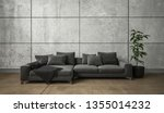 wide black couch and potted... | Shutterstock . vector #1355014232