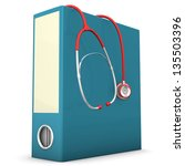 red stethoscope with blue... | Shutterstock . vector #135503396
