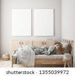 mock up poster frame in modern... | Shutterstock . vector #1355039972