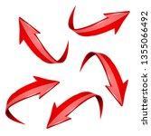 red shiny 3d arrows. bent... | Shutterstock . vector #1355066492