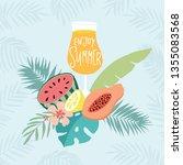 hand drawn enjoy summer party... | Shutterstock .eps vector #1355083568