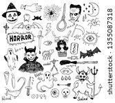 horror set of halloween doodle... | Shutterstock .eps vector #1355087318