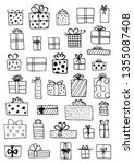 hand drawn gift boxes set...   Shutterstock .eps vector #1355087408