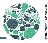 cartoon hand drawn vegetables... | Shutterstock .eps vector #1355087882