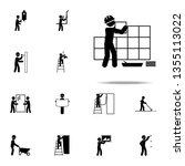 worker puts tile icon.... | Shutterstock . vector #1355113022