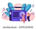 radio recorder playing music... | Shutterstock .eps vector #1355124542