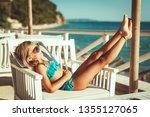 beautiful little girl on...   Shutterstock . vector #1355127065