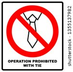 operation prohibited with tie... | Shutterstock . vector #1355137982
