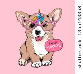 welsh corgi puppy in a pink... | Shutterstock .eps vector #1355143358