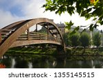Wooden bridge of Monforte de Lemos, Galicia, Spain, with its castle in the background