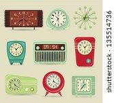 set of retro clocks  including...   Shutterstock .eps vector #135514736
