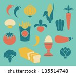set of food icons  including... | Shutterstock .eps vector #135514748