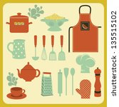 set of kitchen accessories and...   Shutterstock .eps vector #135515102