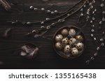 organic quail eggs in wooden... | Shutterstock . vector #1355165438