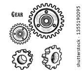 hand drawn gear | Shutterstock .eps vector #1355190095
