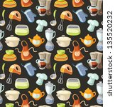 seamless pattern with kitchen...   Shutterstock .eps vector #135520232