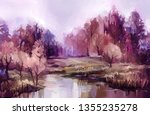 oil painting colorful autumn... | Shutterstock . vector #1355235278
