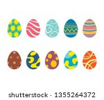 set of easter eggs isolated in...   Shutterstock .eps vector #1355264372