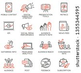 vector set of linear icons... | Shutterstock .eps vector #1355344595