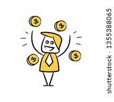 doodle businessman and money... | Shutterstock .eps vector #1355388065