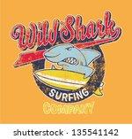 surfing shark   vector artwork...   Shutterstock .eps vector #135541142