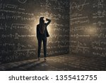Back view of young businesswoman in concrete corner with mathematical formulas. Complex algorithm and math concept - stock photo