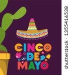 cinco de mayo card with cactus... | Shutterstock .eps vector #1355416538