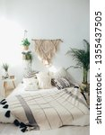white pillows with macrame. bed ... | Shutterstock . vector #1355437505