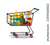 shopping cart with products... | Shutterstock .eps vector #1355463062