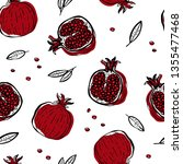 pomegranate hand drawn seamless ... | Shutterstock .eps vector #1355477468