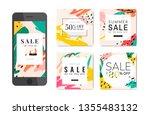 memphis design with summer sale ... | Shutterstock .eps vector #1355483132