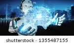 robot on blurred background... | Shutterstock . vector #1355487155