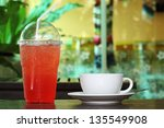 strawberry italian soda and a... | Shutterstock . vector #135549908