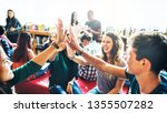 diverse students giving high... | Shutterstock . vector #1355507282