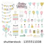 set of birthday party design... | Shutterstock .eps vector #1355511038