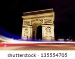 paris triumph arc during night | Shutterstock . vector #135554705