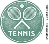 vintage tennis sport stamp | Shutterstock .eps vector #135556388