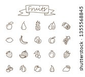 fruits icons set in doodle... | Shutterstock .eps vector #1355568845