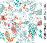 floral seamless pattern with... | Shutterstock .eps vector #1355578202