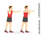 Man Doing Punches Exercise. Arm ...