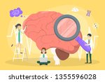 doctor examine huge brain. idea ... | Shutterstock .eps vector #1355596028